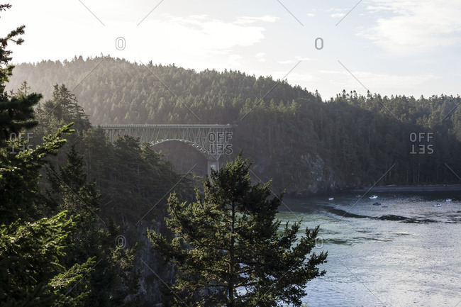 View of Deception Pass at Whidbey Island, Oak Harbor, Washington