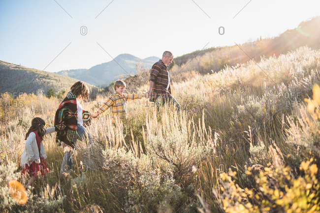 Family holding hands walking through field