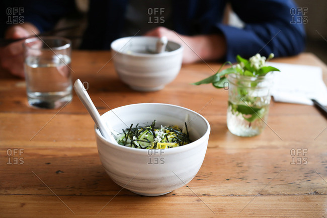 Cold buckwheat soba noodles with kohlrabi, cucumbers and nori