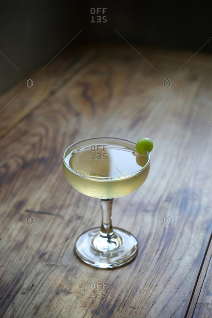 Close up of cocktail served in coupe glass