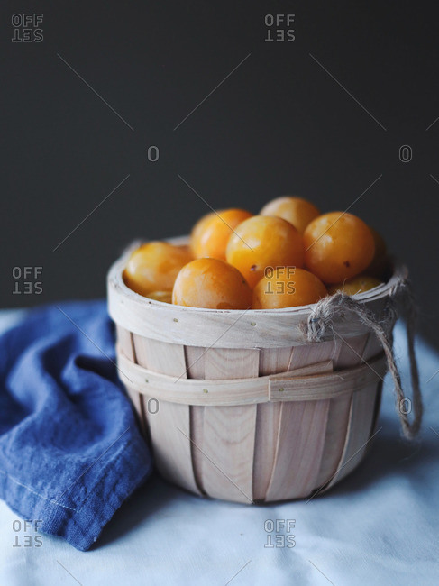Basket filled with yellow plums