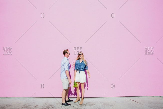 Casually stylish couple in summer clothes
