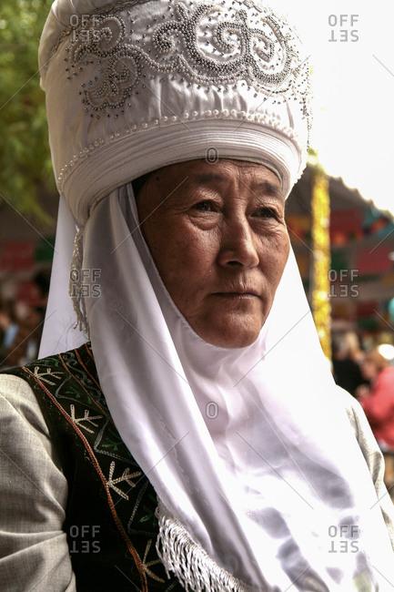 Santa Fe, New Mexico, USA - July 12, 2008: Close up of a Chinese tribal woman