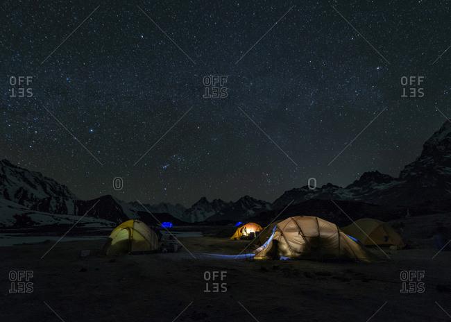 Ama Dablam mountain Base Camp at night