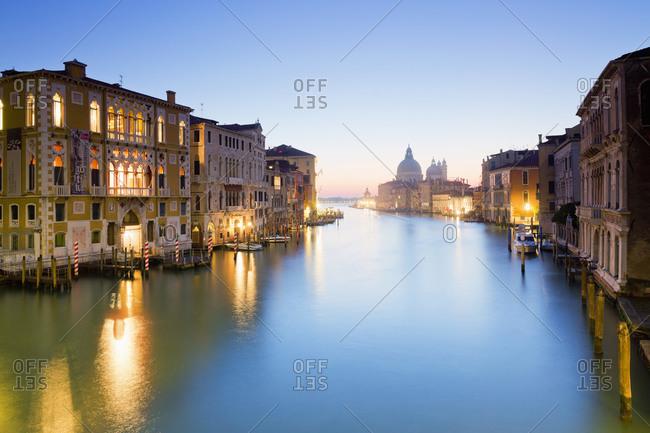 View of Grand Canal and the basilica Santa Maria della Salute on Dorsoduro in Venice Italy