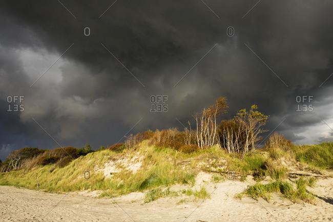 Rain clouds over Baltic Sea beach in Born auf dem Darss in Germany