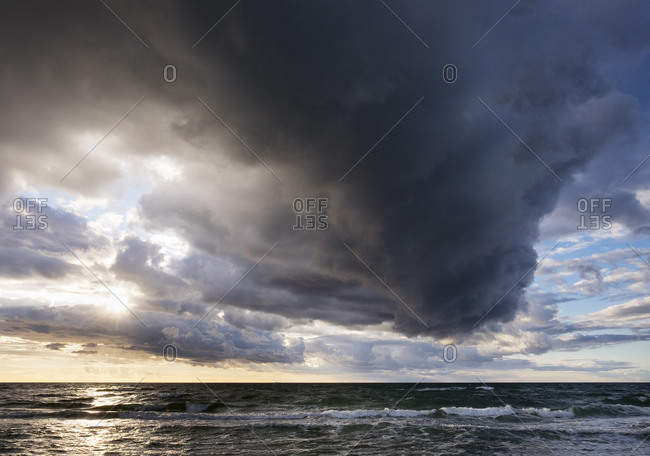 Rain clouds over Baltic Sea in Germany