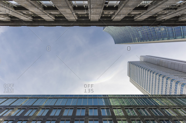 Facades of old and new buildings seen from below in Frankfurt Germany