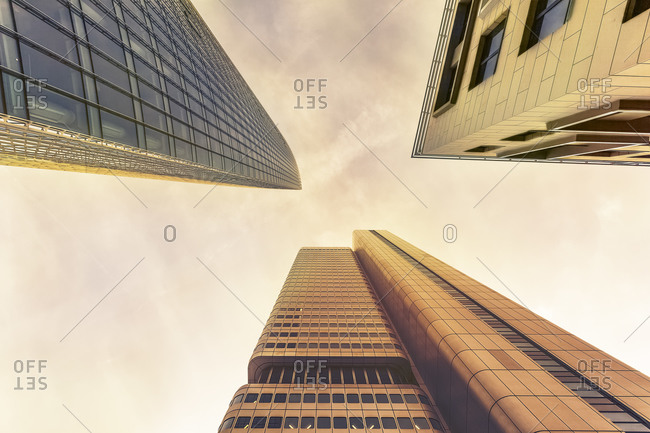 Facades of three office towers seen from below in Frankfurt Germany