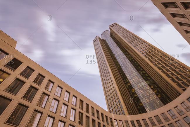 Modern office buildings seen from below in Frankfurt Germany