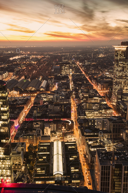Elevated view of Frankfurt Germany at evening twilight