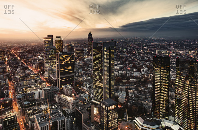 Elevated view at evening twilight of Frankfurt Germany