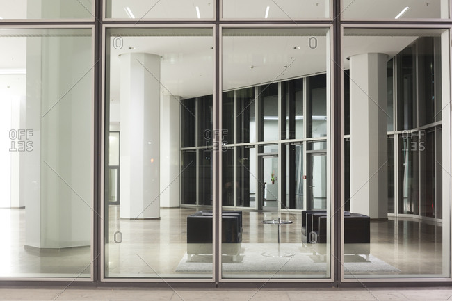 View inside a lobby of an office building in Frankfurt Germany