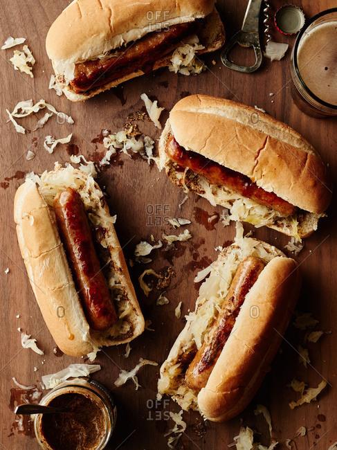 Sausages on buns with sauerkraut