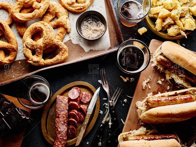 Beer, sausages, and pretzels