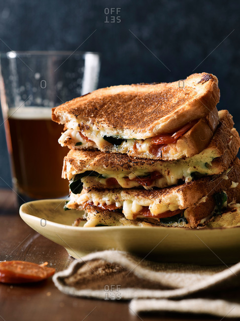 Pepperoni & mozza grilled cheese sandwich