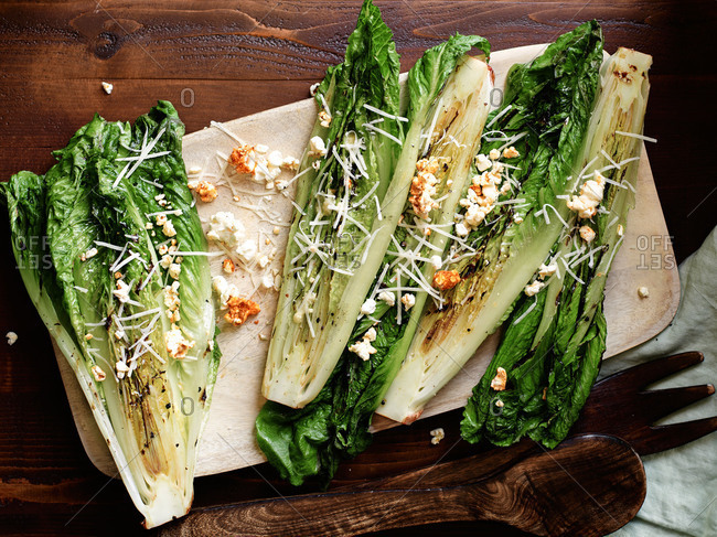 Grilled romaine with smoked popcorn