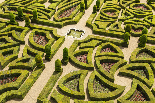 Indre et Loire, Loire Valley, France - June 1, 2015: Elaborate gardens at the Chateau de Villandry in France
