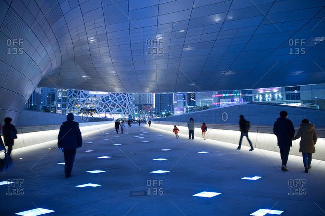 Seoul, South Korea - December 6, 2015: Walkway at the Dongdaemun Design Plaza in Seoul, South Korea