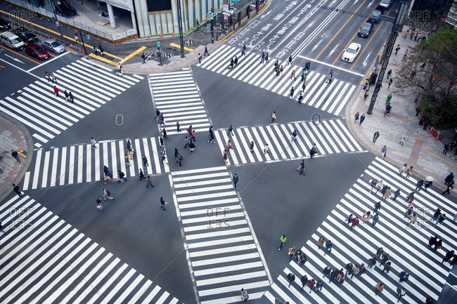 Overhead view of people at Ginza Crossing in Tokyo, Japan