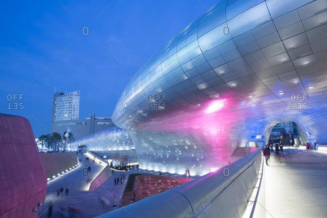 Seoul, South Korea - December 6, 2015: Dongdaemun Design Plaza at night in Seoul, South Korea