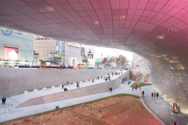 Seoul, South Korea - December 6, 2015: Ancient city stone foundations beneath Dongdaemun Design Plaza, Seoul