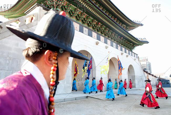 Seoul, South Korea - December 4, 2015: Members of the Korean Royal Guard in a ceremony reenactment at Gyeongbokgung Palace, Seoul