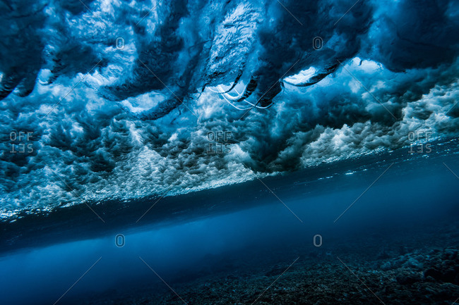 Wave action pattern seen from underwater