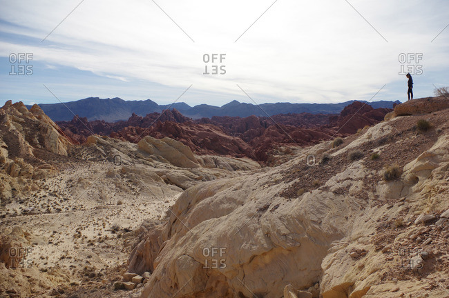 Woman standing at the edge of desert badlands
