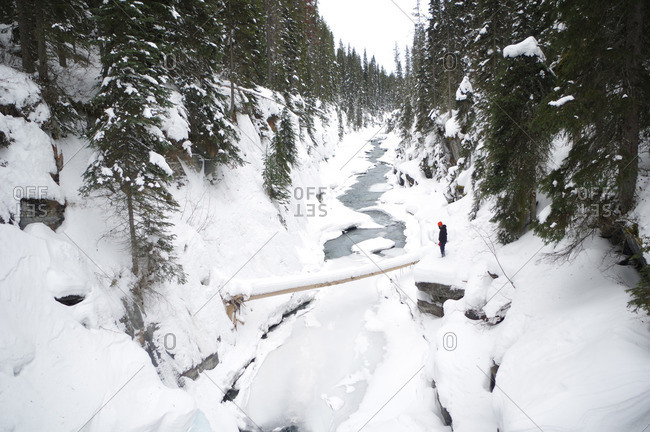 Man ponders fallen tree as crossing over an icy stream in snowy forest
