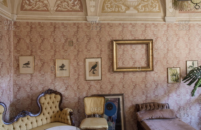 Lugano, Switzerland - September 25, 2015: Sitting room of an old house