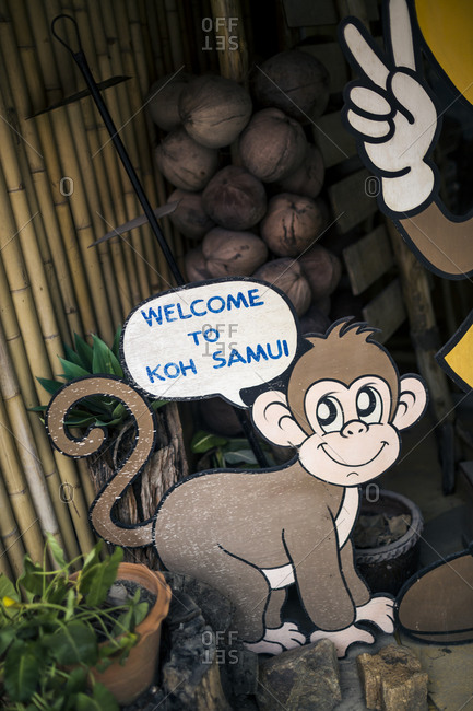 Monkey shaped welcome sign