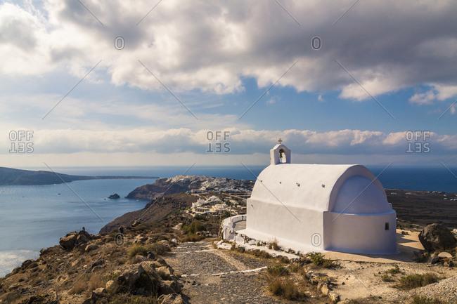 White church in Santorin, Greece