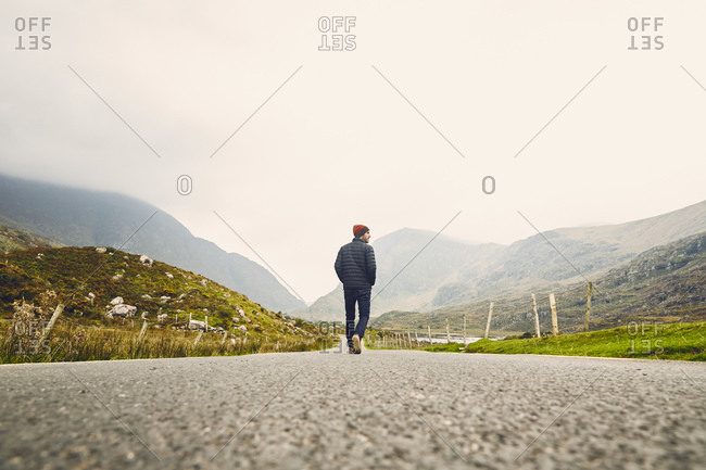 Low view of man on rural road