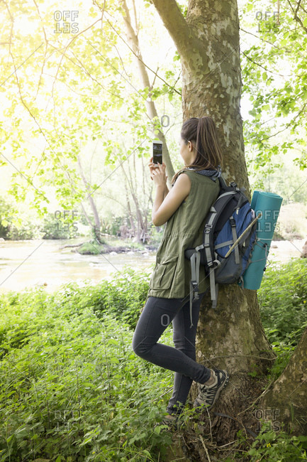 Woman taking photo by tree