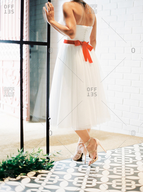 Back view of woman in tulle dress with red sash belt