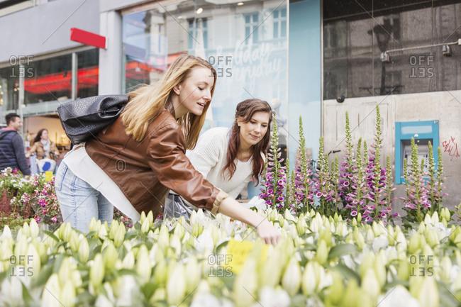 Women looking at street side flowers for sale in Stockholm, Sweden