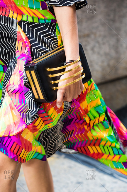 Woman wearing a colorful dress during New York Fashion Week