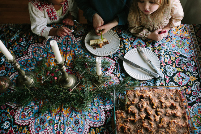 Children eating coffee cake at Christmas time