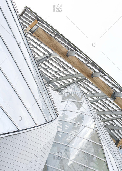 Paris, France - November 15, 2014: Looking up at the Louis Vuitton Foundation Building By architect Frank Gehry