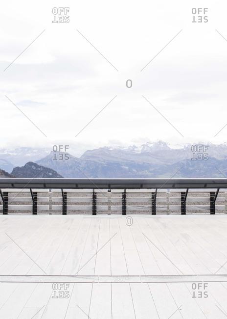 Boardwalk overlooking mountains