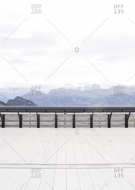 Boardwalk overlooking mountains