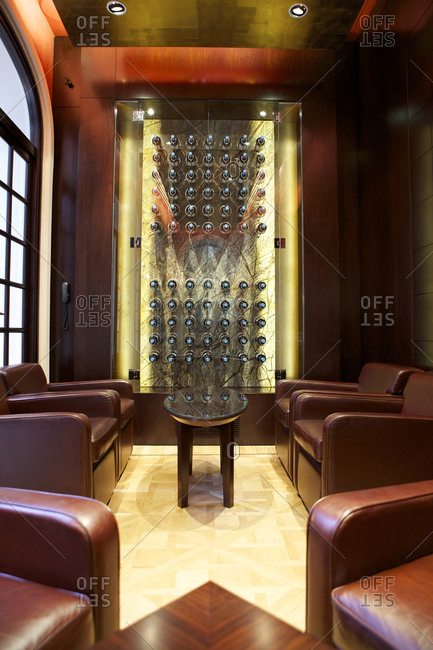 Buenos Aires, Argentina - November 10, 2010: Leather chairs in a wine lounge