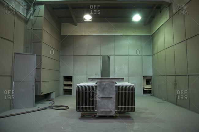 Interior of transformer manufacturering facility, Buenos Aires, Argentina