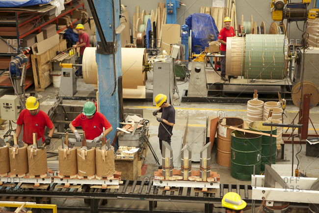 Buenos Aires, Argentina - April 15, 2015: Manufacturing floor of transformer factory
