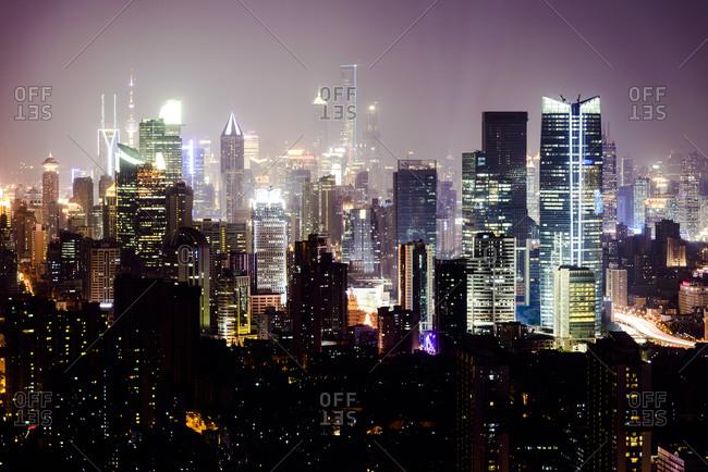 Hong Kong skyscrapers illuminated at night
