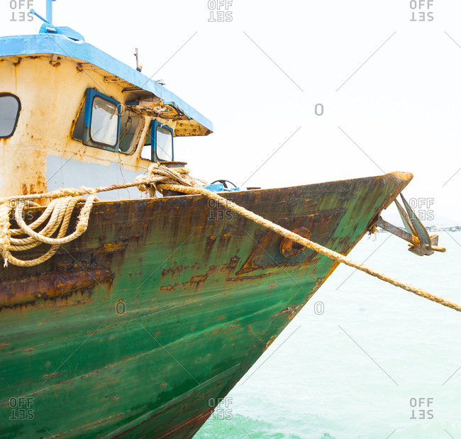 Fishing boat's bow and wheel house in Duong Dong Harbor on Phu Quoc Island in Vietnam
