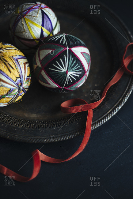 Decorative Christmas string ball ornaments and ribbon