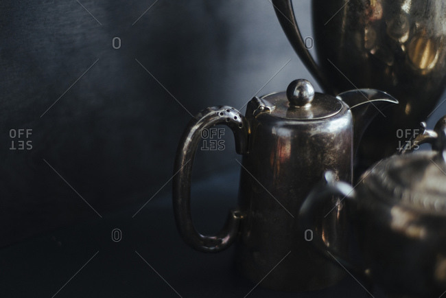 Close up of a metal tea pot