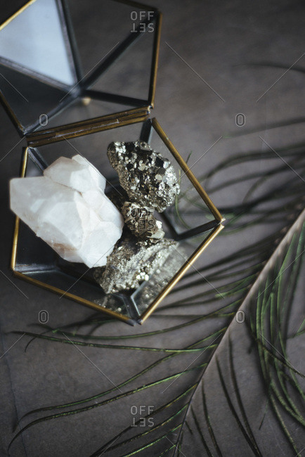 Rock crystals in a jewelry box